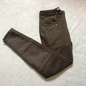 Zara   Olive Green Zip Pants